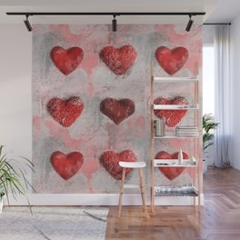 Heart Love Red Mixed Media Pattern Gift Wall Mural