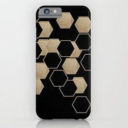 contemporary preppy scandinavian minimalist Black and gold hexagon iPhone Case