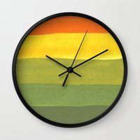 1975 Wall Clocks featuring 1975 by Joshua Lee