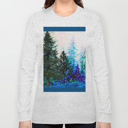 TEAL COLOR  MOUNTAIN  PINE FOREST LANDSCAPE Long Sleeve T-shirt