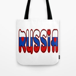 Russia Font with Russian Flag Tote Bag