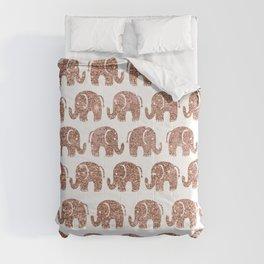 Hand drawn cute rose gold glitter elephant pattern Comforters