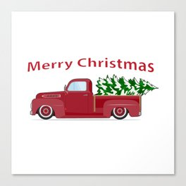 Vintage red pickup car with Christmas tree. Canvas Print