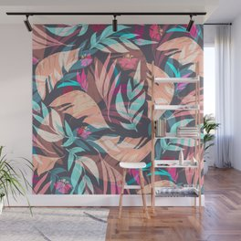 Tropical Exotic Flowers Hand Drawn Style Wall Mural