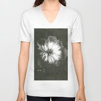 peony V-neck T-shirts featuring peony by half of ten