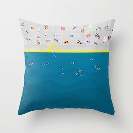Clovelly Beach Sydney | Aerial Illustration Throw Pillow