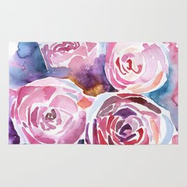 Abstract Peonies Watercolor Rug