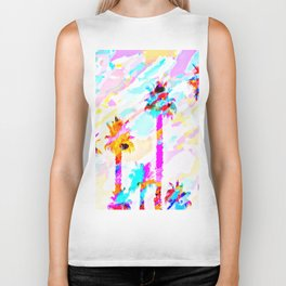 palm tree with colorful painting texture abstract background in pink blue yellow red Biker Tank