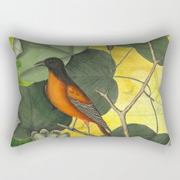 Baltimore Oriole on Tulip Tree, Vintage Natural History and Botanical Rectangular Pillow