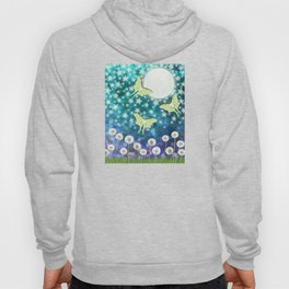 the moon, stars, luna moths, & dandelions Hoody
