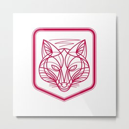 Fox Head Crest Monoline Metal Print