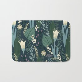 Wonderful Mid-Century Style Evening Lily And Wildflower Pattern Bath Mat