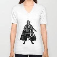 vendetta V-neck T-shirts featuring V 4 Vendetta by Ayse Deniz