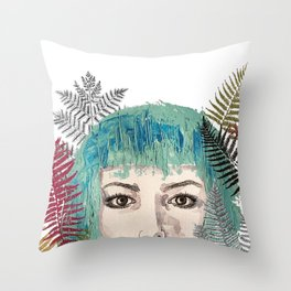 Blue-haired girl with leaves Throw Pillow