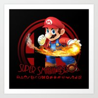 smash bros Art Prints featuring Mario - Super Smash Bros. by Donkey Inferno