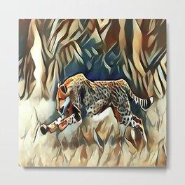 Running Cheetah Metal Print