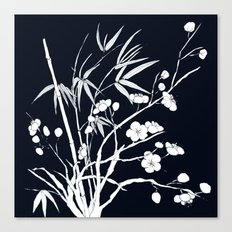 bamboo and plum flower white on black Canvas Print