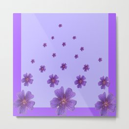 RAINING PURPLE FLOWERS LILAC COLLAGE ART Metal Print