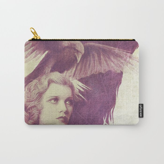 Purple vintage girl with raven Carry-All Pouch