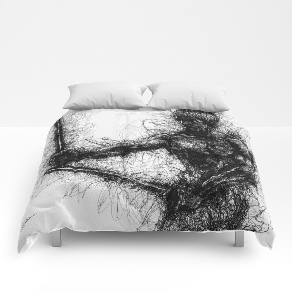 Bruce Kung Fu Master Lee, Drawing, Wall Art, Kung … Comforter by Juliolucas CMF8502345