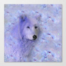 WOLF BLUE LILAC PURPLE FLOWER SPARKLE Canvas Print