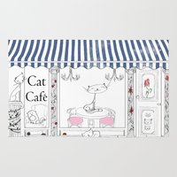 cafe Area & Throw Rugs featuring Cat Cafe by ArtRonin