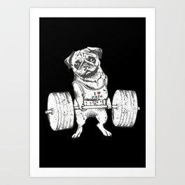 Pug Lift in Black Art Print