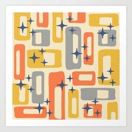 Retro Mid Century Modern Abstract Pattern 278 Yellow Orange Gray Art Print