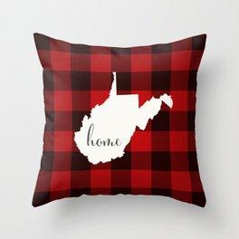 West Virginia is Home - Buffalo Check Plaid Throw Pillow