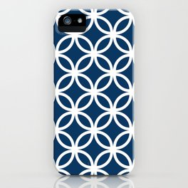 Navy Geometric Circles iPhone Case