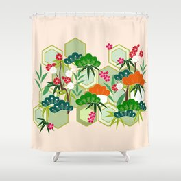 Japanese Floral Pink Shower Curtain