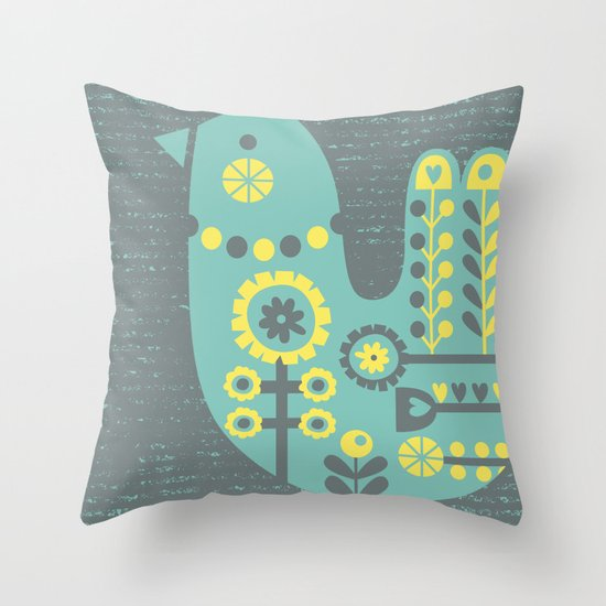Folksy Birdie Throw Pillow