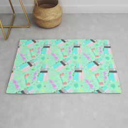 Midcentury Retro Yard Flamingos + Campers Rug