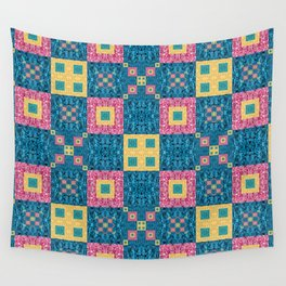 Classic Pretty Quilt Geometric Print in Yellow Pink and Blue Wall Tapestry