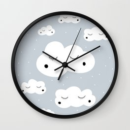 clouds and dots Wall Clock