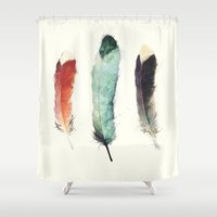 simple Shower Curtains featuring Feathers by Amy Hamilton