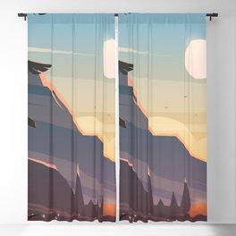 Mountain Sunset Illustration Blackout Curtain