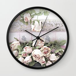 Shabby Chic Dreamy Pink Roses Cottage Floral Decor Wall Clock