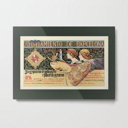 Vintage Art Nouveau expo Barcelona 1896 Metal Print