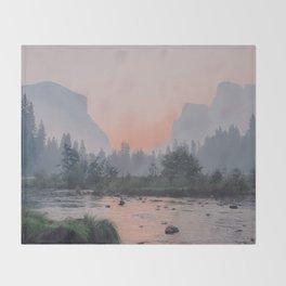Yosemite Valley Sunrise Pretty Pink Throw Blanket