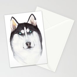 watercolor blue-eyed husky Stationery Cards