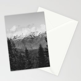 Snow Capped Sierras - Black and White Nature Photography Stationery Cards