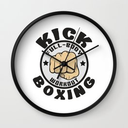 The Fighter's Sparring Tshirt Design Kick boxing Wall Clock