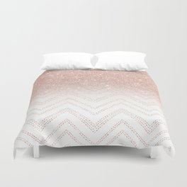 Modern faux rose gold glitter ombre modern chevron stitches pattern Duvet Cover