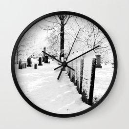 Snow and Gravestones Wall Clock
