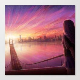 Anime Girl Bridge Sunset Canvas Print