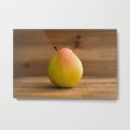 Pear on wood Metal Print
