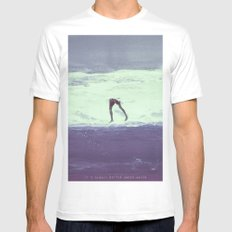 IT'S ALWAYS BETTER UNDER WATER Mens Fitted Tee MEDIUM White