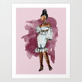 BIRTHDAY SLAY (maroon background with watercolor splash) Art Print