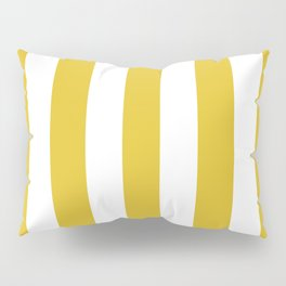 Durian Yellow - solid color - white vertical lines pattern Pillow Sham